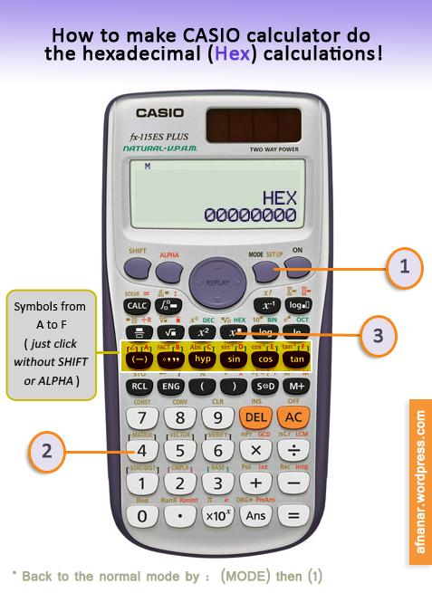 تحويل الآلة الحاسبة إلى النظام الست عشري